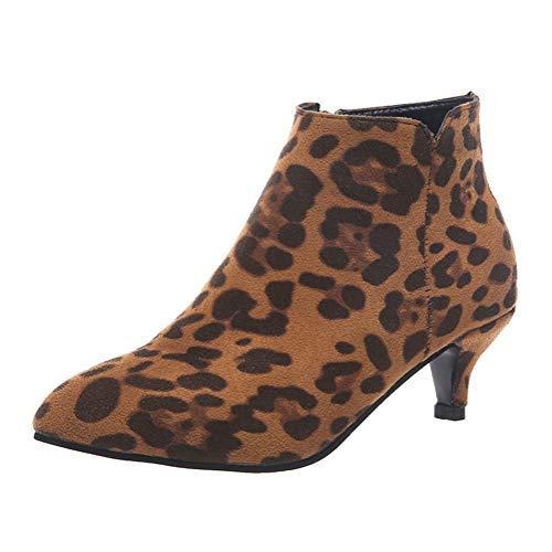 ORANDESIGNE Stivali Donna Tacco Alto Invernali Stivaletti con Tacco Blocco Eleganti Scarpe Tacco Gattino Sexy Casual Moda A Leopardo 37 EU