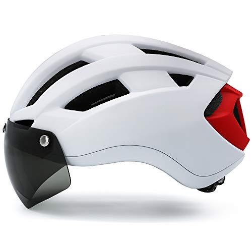 VICTGOAL Casco Bici con Occhiali Rimovibili Magnetica Dotato di Fanali Posteriori a LED Ricaricabili Casco per Uomo e Donne Casco Bicicletta (Bianco, L/XL (58-63cm))