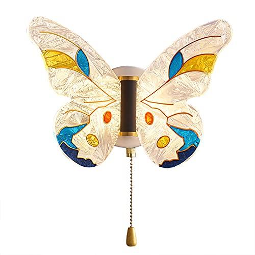 LED Aplique de Pared para Habitación Infantil Creativos Dibujos Animados Mariposa Lampara de Pared con Interruptor Regulable Interior Moderno Paredluces Vidrio para Niños Dormitorio Cabecera Luces 8W