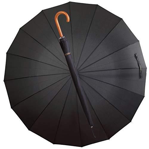 La Farrell Regenschirm XXL, Stockschirm, Golfschirm, Automatik, groß, schwarz, mit Umhängetasche, Größe XXL, Ø ca.120 cm, für 2 Personen, mit Holzgriff, 16 Rippen, Sturmfest und Winddicht