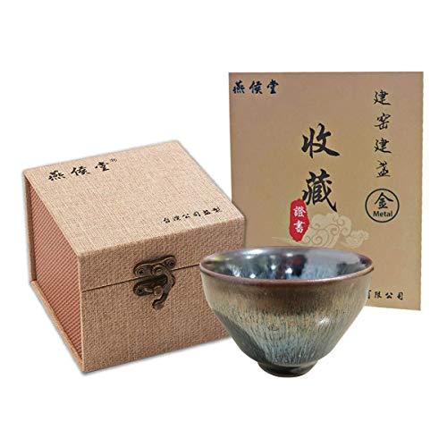 Yan Hou Tang Metal JianZhan Tenmoku Asian Japanese Tea Cup Bowl Cold Sake Sushi Wine Black Grey 45ml - 5 Elements Chinese Feng Shui Crafts Designer Ceremony Handwork Oil Christmas Snow Spot Style