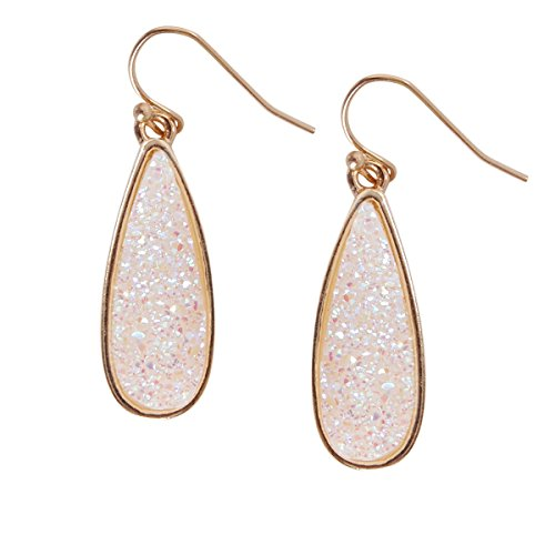Humble Chic Simulated Druzy Drop Dangles - Gold-Tone Sparkly Long Teardrop Dangly Earrings for Women, Simulated Opal, Sparkly Pearly White, Opalescent, Simulated Moonstone, Gold-Tone