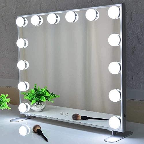 Melur Hollywood Make-up-Spiegel mit LED-Lichtern, Touch-Steuerung, großer Kosmetikspiegel mit Dimmer-LED-Leuchten, Aluminiumrahmen, Tischplatte oder Wandmontage, Kosmetikspiegel (Weiß)