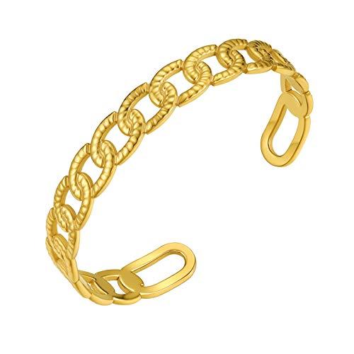 PROSTEEL Wide Open Cuff Bracelet Gold Plated Adjustable Chain Bangle Women Wrist Cuff