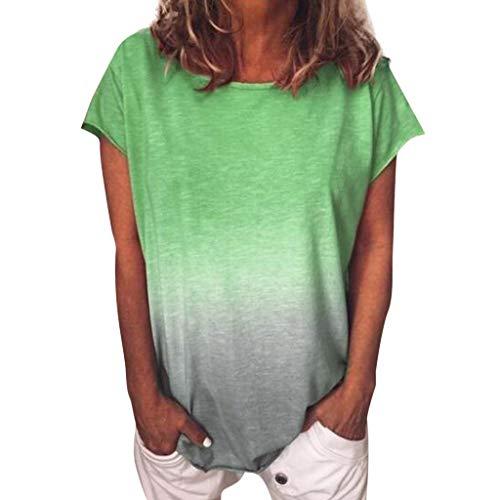 Damen Kurzarm T-Shirt Beiläufig Farbverlauf Shirt Sommer Lose Shirt Tees Oansatz Casual Basic Bluse Oberteile (Grün,M)