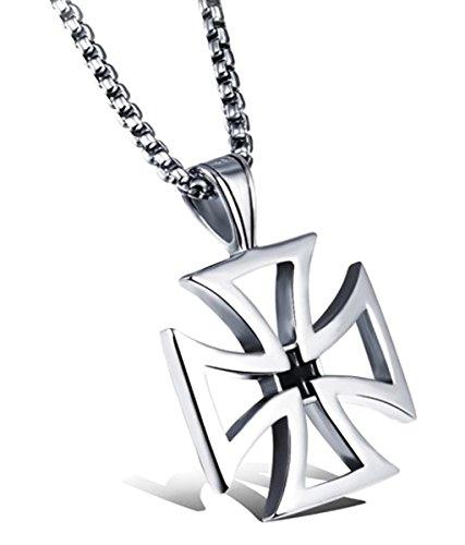 Allnus Collection Halsketting met kruis van roestvrij staal, met ketting, templer, ijzeren kruis, kruiskop, hoogwaardig halssieraad, gepolijst, roestvrij sieraad