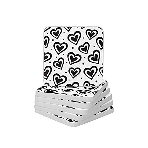Juego de 6 posavasos absorbentes con forma de corazón, color blanco y negro