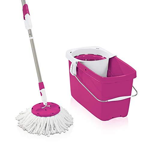 Leifheit Set Clean Twist Disc Mop Crazy Pink, Wischer in limitierter Auflage, Set für nebelfeuchte Reinigung, Wischmopp mit Schleudertechnologie, Bodenwischer mit Click-System für Fliesen und Laminat
