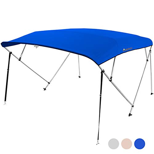 """KING BIRD 4 Bow Bimini Boat Top Cover Sun Shade Boat Canopy Waterproof 1 Inch Stainless Aluminum Frame 54"""" Height with Rear Support Poles and Storage Boot (Royal Blue, 91""""-96"""")"""