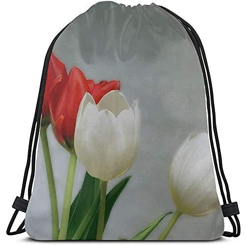 Yuanmeiju Saco de Gimnasia con cordón,Bolsa de cordón para Dibujar,Tulips Red White Spring Aesthetics Aesthetic String Pull Bags Girls Girls Bags Sport Makeup Bag with Sport For Gym,Outdoor,Travel