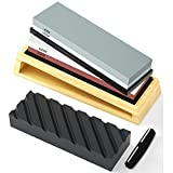HOSOM Sharpening Stone Set 400/1000, 3000/8000 Grit, Japanese Whetstone Kit Include Flattening Stone and Angle Guide, Water Stones for Knives and Chisel