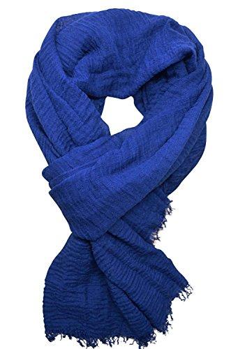 KARL LOVEN Pañuelo Mujer Bufanda Arrugada Fular Pashmina Cuello, Azul majorelle, 1m90