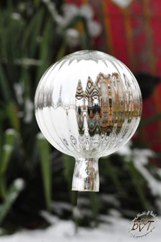 Gartenkugel ca. 25 cm gross Form Kugel, klassische Kugelform handgefertigt silber Rosenkugel gartenkugeln, Sonnenfänger-Kugel, Sonnenfänger-Scheibe, Sonnenfängerscheiben, Gartendeko FROSTSICHER, li