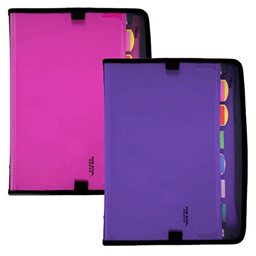 Five Star Expanding File, 7-Pocket Expandable Folder, Customizable, Berry Pink or Purple, Color Selected For You, 1 Count (38218)