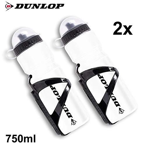 Rovial 2X Dunlop Fahrradflasche mit Halter Trinkflasche 750ml Kunststoff transparent Flasche