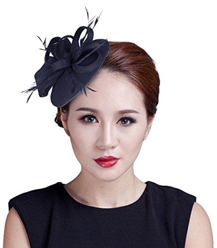 La Vogue Mini Chapeau De Cérémonie Mariage Accessoire Cheveux Bibi Plume Femme Marine
