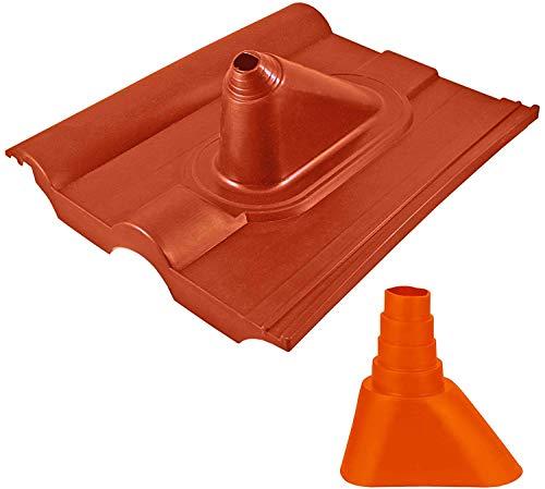HB-DIGITAL Universal Dachpfanne Ziegel-Rot ➕ Gummimanschette Orange | für Rohren mit 32-60 mm Durchmesser Mastmanschette Mastabdichtung Manschette Abdichtung Dachabdeckung Frankfurter Pfanne