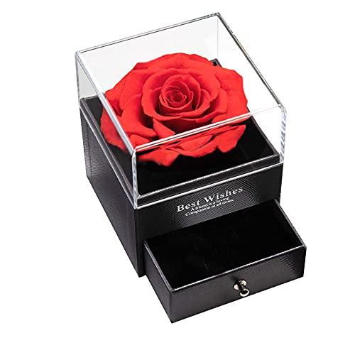 Rosa Preservadas Hecha a Mano, Regalo de Originales Caja de Regalo de Joyería para Esposa, Novia, Mamá en Día de San Valentín/Cumpleaños/Aniversario
