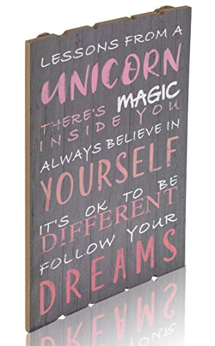 Something Unicorn - Rustic Wall Hanging Sign for Teen Girls, Girl's Bedroom, Nursery Room, College Dorm and Unicorn Room Decoration. Essential Item for Unicorn Wall Decor, 12x17 in, Unicorn