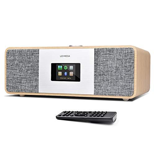 LEMEGA MSY3 Radio por Internet (Radio estéreo Digital Dab+/FM,WiFi,Spotify Connect,Bluetooth,Caja de Madera,AUX,Carga USB,Despertador Dual,subwoofer,Pantalla a Color,Control Remoto) -Blanco