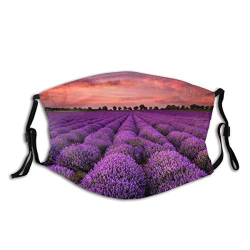 Lavendelfeld bei Sonnenuntergang Gesichtsdekorationen FA-Ce Co-Ver FA-Ce Mas-Ke Mit Filtern