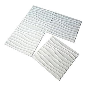 "Art3d Plastic 3D Wall Panel PVC Wave Wall Design, White, 19.7"" x 19.7"" (12 Pack)"