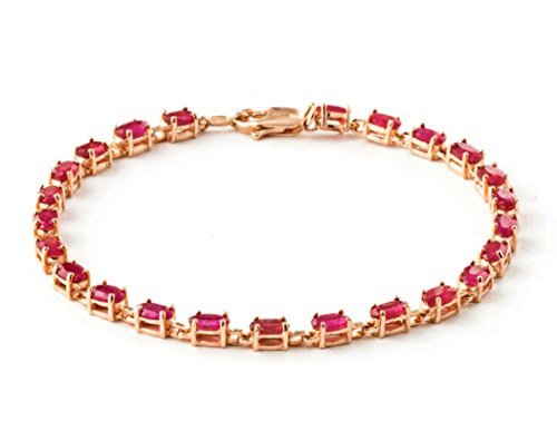 Galaxy Gold 14k Solid Rose Gold Tennis Bracelet 7.35 ct Red Ruby - (6.5)