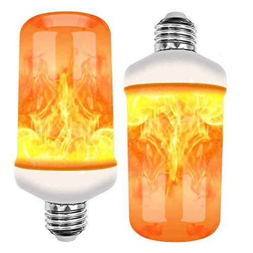 Yiyu 2 Stück Flammenglühbirnen Flamme Lampe 4 Beleuchtungsmodi Flackernde Licht Effekt Feuer Glühbirne 4W E27 Flamme Glühbirne Für Haus Garten Bar Party x (Color : Clear)