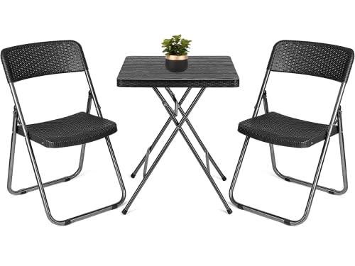 Juego de Muebles de Jardín, Conjunto Mesas y Sillas, 1 Mesa+2 sillas, Imitación Ratán, Plegable, Cómodo, Portátil,...