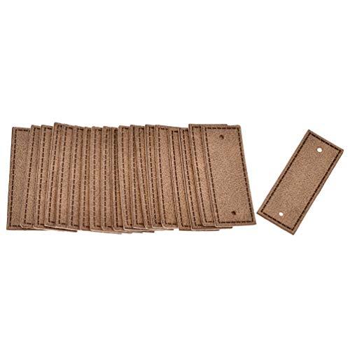 BetterUS 20 Stück PU-Leder-Kleideretiketten, blanko, 2 Löcher, Bekleidungszubehör, DIY Handwerk (braun)
