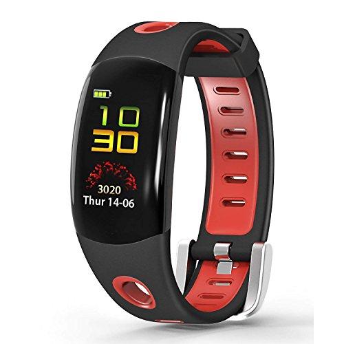 C-Xka Intelligentes Armband, Bluetooth-Eignungs-Verfolger mit Herzfrequenz-Monitor-Tätigkeits-Intelligenter Armbanduhr für IOS Android Smartwatch (Farbe : Red)