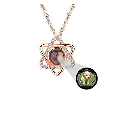 Collar Personalizado Collar Con Foto Personalizado Collar De Proyección Collar De Oro Rosa Collar De 100 Idiomas Regalo Personalizado Del Día De La Madre(Oro Rosa a Todo Color 20)