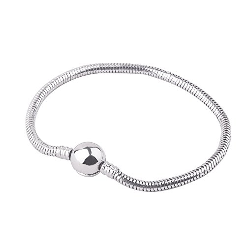 PH PandaHall 7.5 Inches 3mm European Charm Bracelet Stainless Steel Snake Chain with Barrel Snap Clasp for Women and Girls Fits European Style Charm Beads