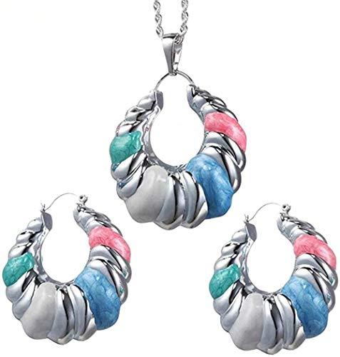 Ahuyongqing Co.,ltd Collar Pendientes de aro para Mujeres Africanas/Congo Mujeres/Señoras Joyería s Color Plata Ronda Creatividad Regalo Longitud 45Cm Collar