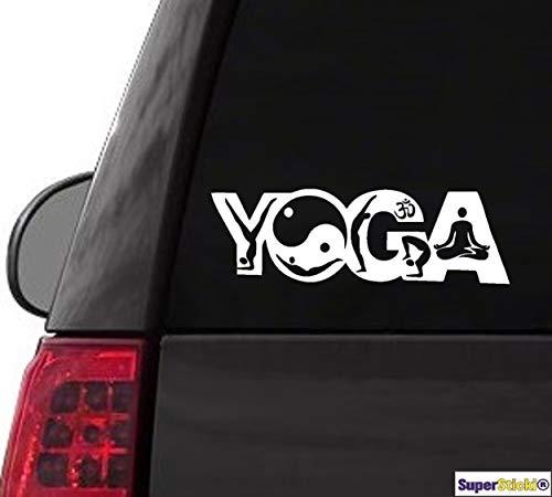 SUPERSTICKI Pegatina de vinilo de alto rendimiento para coche, diseño con texto 'Yoga Ying Yang', 20 cm