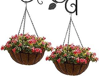 2Pcs Hanging Coconut Base Planters Pots, Iron Wall Mount Mesh Frame Plant Hanger Flower Pots - Modern Decorative Garden Pl...