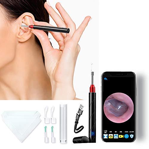 Bursun Ohrenschmal Zentferner, Kabelloses HD Kit Zum Entfernen Von Ohrenschmalz mit 6LED-Leuchten, geeignet für Erwachsene, Kinder und Haustiere,Geeignet für Android und Iphone