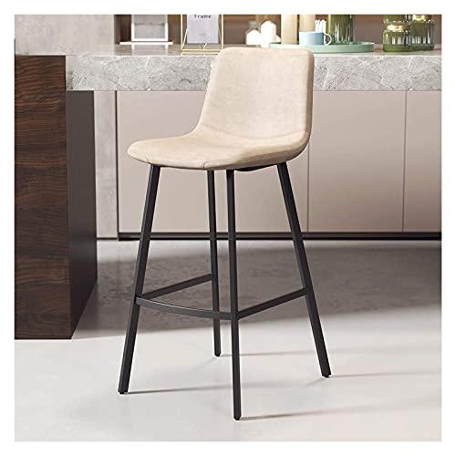 Barkruk 46 x 50 x 75 cm, eenvoudige smeedijzeren hoge kruk met rugleuning, thuisvrije restaurant barstoel (kleur: A-grijs)