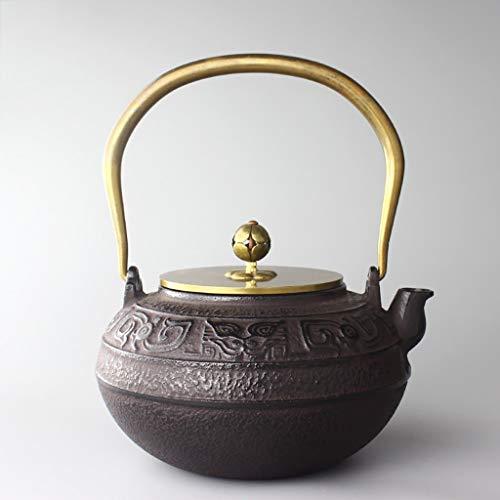 Estilo japonés Tetera de hierro fundido con Trivet, 1300 ml caldera de té con mango de color oro, la temperatura de retención de hierro fundido de la caldera, el artículo del colector for el t