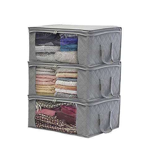ZOYOSI 3 cajas plegables de almacenamiento de ropa bolsas con cremallera organizadores armario armario armario