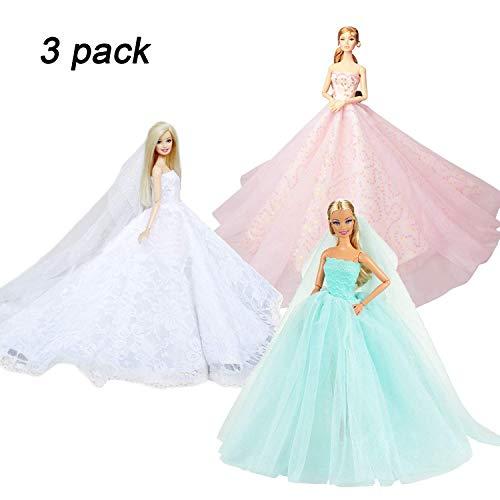 Abree 3 Stück Kleider Set Abendkleid Ballkleid Prinzessin Kleidung Dress Bekleidung mit Brautschleier für Puppen Weihnachten Party Geschenke (A)