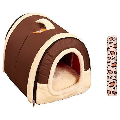 Cama/Caseta Perro Gato Interior 2 en 1, Casa Mascota Grande o Pequeño, Lavable Plegable Portátil, Cueva de Viaje para Perros Medianos Pequeños y Gatos (M:45cmx35cmx35cm, Marron)