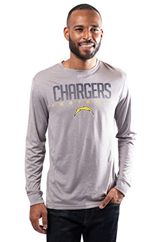 NFL Ultra Game Los Angeles Chargers Long Sleeve Crew Neck Tee Shirt, Large, Heather Gray