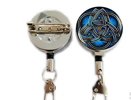 Blue triquetra Keychain,Triquetra Keychain,Celtic triangle Keychain,Celtic knot Celtic art Keychain, Trinity Symbol Trinity Knot Keychai,Retractable Badge Holder Carabiner Reel Clip On ID Card Holders