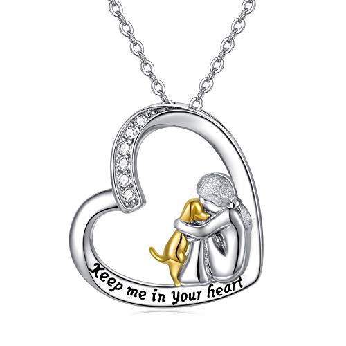 Kette Hund Damen Halskette 925 Sterling Silber Mädchen Umarmte Hund Anhänger Pet Schmuck Geschenk für Frauen