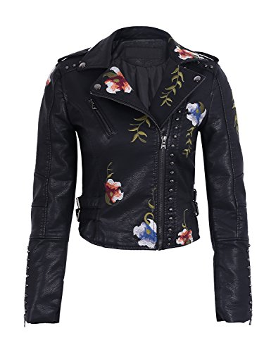 Simplee Women's Floral Embroidery Faux PU Leather Rivet Motorcycle Jacket Coat