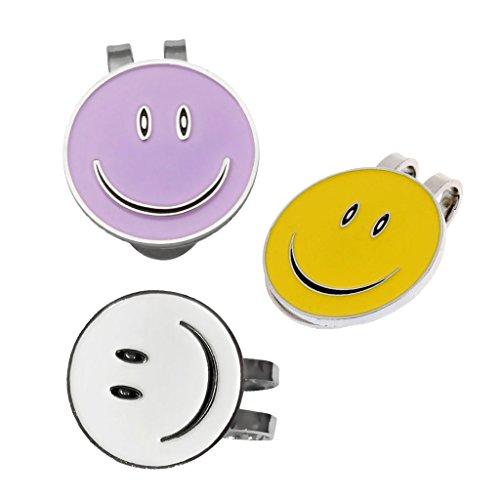 Sharplace 3 Stück Lächeln Gesicht Golf Cap Clip Mit Magnetischen Ballmarker, Weiß/Lila/Gelb