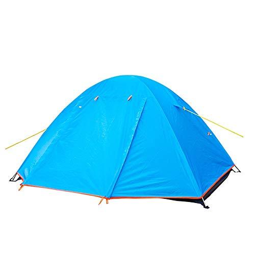 ZR Tente extérieure Anti-Pluie Main Prendre Poteau en Aluminium Simple Double 3-4 Personnes Camping Tente légère Compte Double Bleu