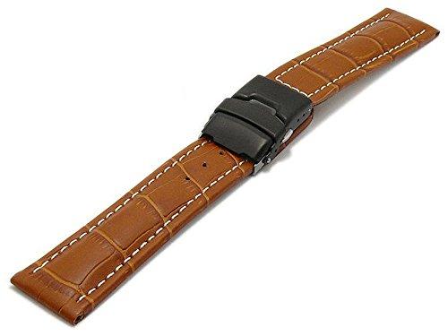 Meyhofer Uhrband Singapur 22mm Hellbraun Leder Alligator-Prägung helle Naht Schwarze Faltschließe MyHekslb202/22mm/hbraun/hN/FS