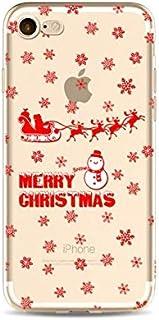 غطاء حماية شفاف مصنوع من السيليكون الناعم بنقش عيد الميلاد لهاتف ايفون 7 بلس